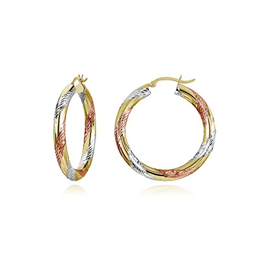14K Gold Tri Color Polished & Diamond-Cut 4x25mm Lightweight Small Round Hoop Earrings by Hoops & Loops