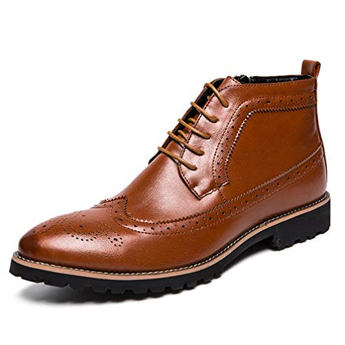 Mens Booties Pointed-Toe Lace Up Comfortable Business Casual Shoes