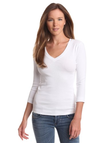 (Three Dots Women's Deep V Neck 3/4 Sleeve Tee, White, Medium)