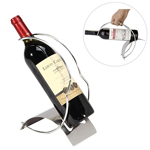 Elegant Sleek Modern Stainless Steel Wine Bottle Serving Pourer Rack Organizer Display Stand