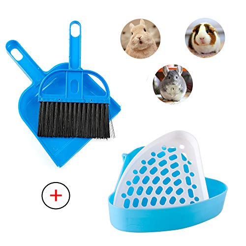 kathson Rabbit Litter Box, Lock-N-Litter Pan, Bunny Litter Box, Ferret Litter Box, Rat Litter Box, Cage Litter Box, Hamster Cage Cleaner, Guinea Pig Cage Cleaner, Hand Broom and Dustpan Set