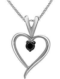 14K Gold Over Sterling Silver Black Natural Diamond Accent Heart Pendant with Chain