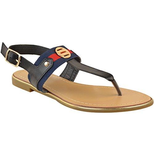 Da Sandali Fashion Basso Thirsty Heelberry Donne Piatto Spiaggia Taglia Ecopelle Infradito Tacco Estivi Nera Calzature 0BH0vr