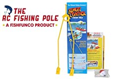 """The ORIGINAL """"RC FISHING POLE"""" fits on ANY RC BOAT. Boat Not Included. Just attach """"THE RC FISHING POLE"""" to your r/c boat and go after the Fish. Now you can drive your fishing line(bait), around the pond or lake. Pull in fish with the boat or..."""