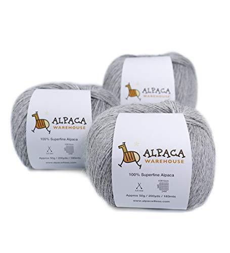 100% Alpaca Yarn Wool Set of 3 Skeins Fingering Weight (Silver Gray)