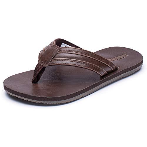 GUBARUN Mens Flip Flop Sandals Thong Indoor and Outdoor Beach Slippers(Brown 10.5)
