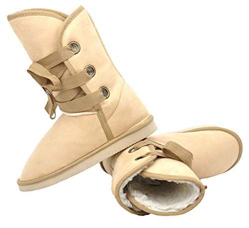 King Ma Women's Winter Faux Fur Suede Lace-up Buckle Ankle Boots Shoes Beige