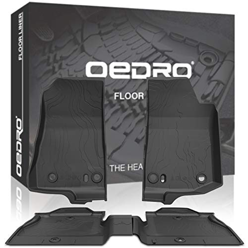 (oEdRo Floor Mats Fit for New 2018-2019 Jeep Wrangler JL 4-Door, Unique Black TPE All-Weather Guard, Includes 1st & 2nd Row: Front, Rear, Full Set Liners)