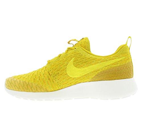 Nike Vrouwen Rosherun Flyknit Running Trainers 704927 Schoenen Van Doradodolfijn (gld Ld / Tr Yllw-unvrsty Gld-sl)