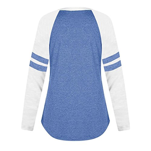 Longues de Femmes Chic Manches Imprimer Chemise Mode Shirt V Tops Paillete SANFASHION Size Hiver Plus Blouse Bleu Chat Mignon Col Casual amp;Automne Florale IP4x508