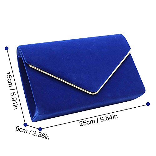 Purse Womens Envelop Handbag Navy Suede Party Evening Royal Clutch Blue Blue Wedding Faux Cckuu Bag 1wxqAUU8