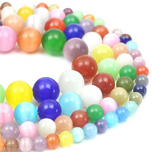 """Oameusa Natural Round Smooth 12mm Colorful Cat's Eye Agate Beads Gemstone Loose Beads Agate Beads for Jewelry Making 15"""" 1 Strand per Bag-Wholesale"""