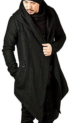 LifeHe Men's Hip Hop Long Hooded Cape - Black Cardigan Jacket (Black, M) (Mens Long Cardigan)
