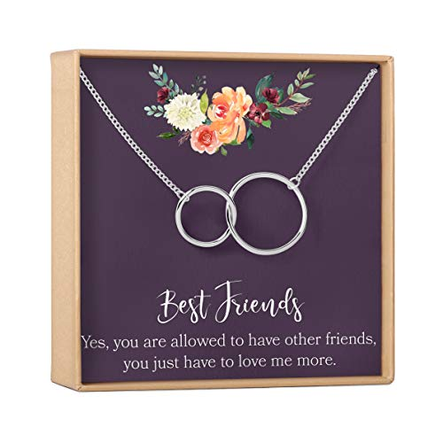 silver-plated-brass, NA Jewelry Friend Best Friend Gift Necklace: BFF Friends Forever Long Distance 2 Linked Circles
