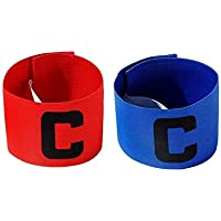 Cashwin Bright Colour Soccer Football Captain Armband Tape for Adult and Youth Fitness Band (Blue,Red - Color)