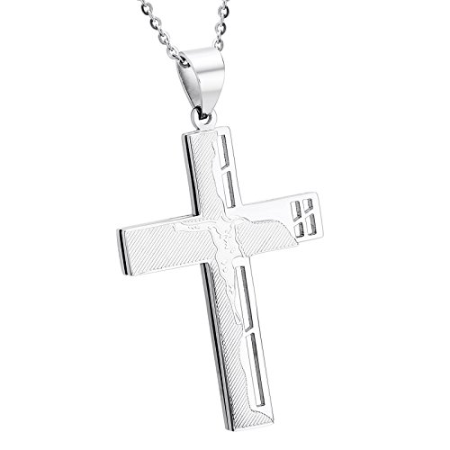 Beydodo Stainless Steel Men Pendant Necklace Cross Crucifix Christian Necklace Jesus Crucifix Silver - Under The Sea Costume Ideas For Couples