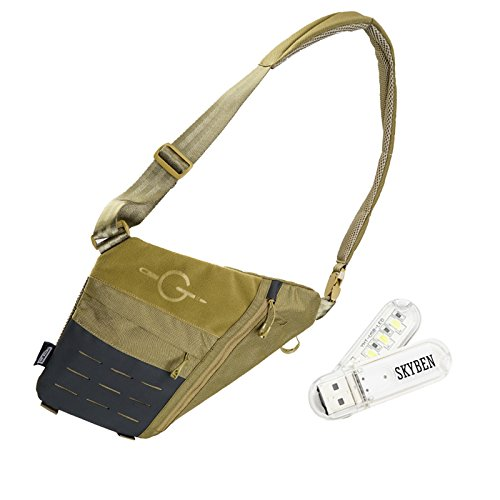 SKYBEN Tacitcal_Geek Cache L1 Stealth Side Carry Bag Shoulder Backpacks Crossbody Bag for Hiking or Multipurpose Daypacks with USB Light (Tan) Review