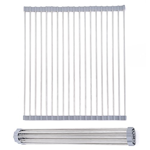 Mowa DR-R1520 Over-the-Sink Stainless Steel Roll-up Dish Drying Rack Drainer Rack, 15 W x 20 L, Warm Grey