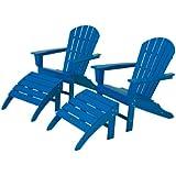 POLYWOOD PWS137 1 PB South Beach 4 Piece Adirondack Chair Set, Pacific Blue