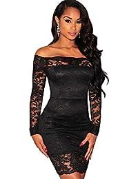 Vestidos De Fiesta Negros Sexys Cortos Ropa De Moda Para Mujer Elegante Casuales de Encaje VE0045