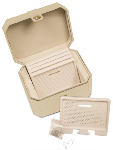 (Lori Leigh Designs 1025 Earring Chalet Vanity Jewelry Box, 8 by 5-1/2 by 5-3/4-Inch, Cottage White)