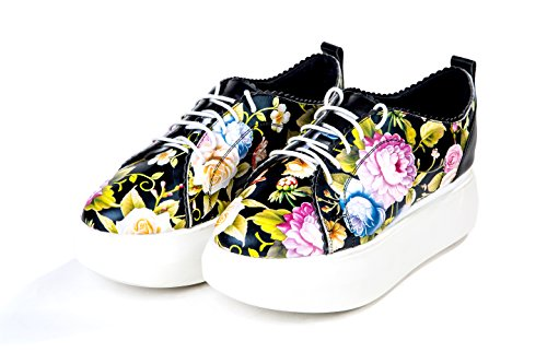 Minivog Kvinner Mote Blonder-up Floral Print Skinn Plattform Oxfords Sko Svart