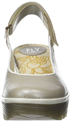 Fly London Women's Yipi831fly Sling Back Sandals Silver (Silver/Offwhite) DNtUspn8