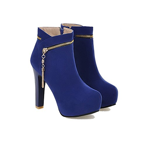 Allhqfashion Women's Zipper Round Closed Toe High-Heels Imitated Suede Low-Top Boots Blue zUs3kjh