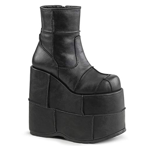 Demonia Men's Sta201/bvl Ankle Bootie, Black Vegan Leather, 6 M ()