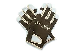 Leather Gardening Gloves for Women and Men. Adjustable Fastener and Breathable Spandex Back. Ideal for General Garden Tasks (Medium)