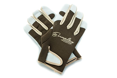 Leather Gardening Gloves for Women and Men. Adjustable Velcro Fastener and Breathable Spandex Back. Ideal for General Garden Tasks (Medium) - Leather Garden Gloves Mens