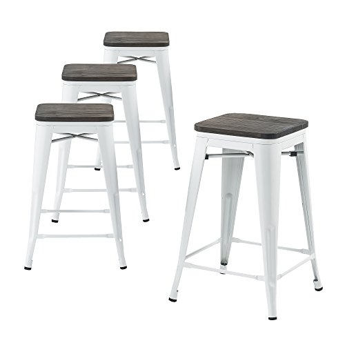 Buschman Set of Four White Wooden Seat 24 Inches Counter High Tolix-Style Metal Bar Stools, Indoor/Outdoor, Stackable (Bar Metal Wood Stools)