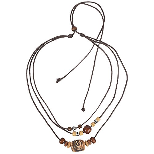 Brown Leather Surfer Necklace - JESSE · RENA men's jewelry hemp beach choker pendant surfer necklace accessories (3L-Brown)