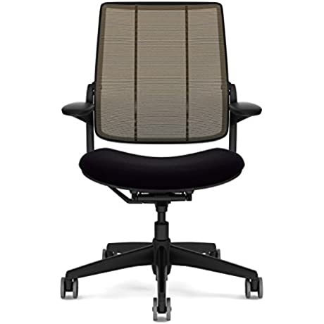 Humanscale Diffrient Smart Desk Chair Home Office Desk Task Chair With Adjustable Duron Arms Black Frame Amber Monofilament Stripe Back Mesh Black Vellum Seat Soft Hard Floor Casters