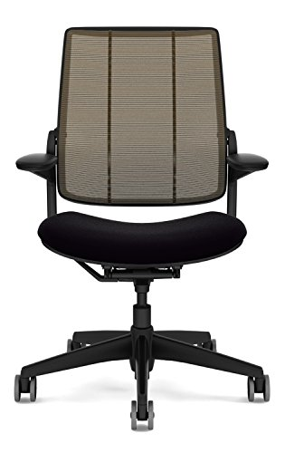 Humanscale Diffrient Smart Desk Chair - Home Office Desk Task Chair with Adjustable Duron Arms - Black Frame - Amber Monofilament Stripe Back Mesh - Black Vellum Seat - Soft Hard Floor Casters