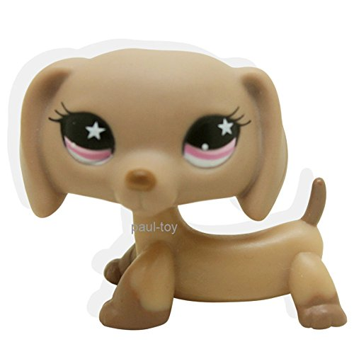 LHJ Littlest Pet Shop Dachshund Dog Puppy Tan with Pink Star Eyes #932
