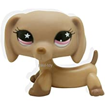 LHJ Littlest Pet Shop Dachshund Dog Puppy Tan with Pink Star Eyes #932