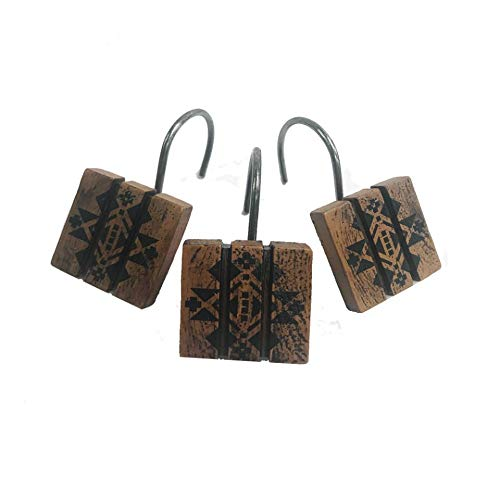 Sequoia Wood Shower Curtain Hooks 12 Pk