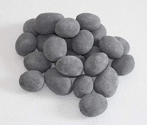 - Hmleaf 24 PCS Fireplace Ceramic Pebbles for Firepits or Fireplaces or Stoves in Gray