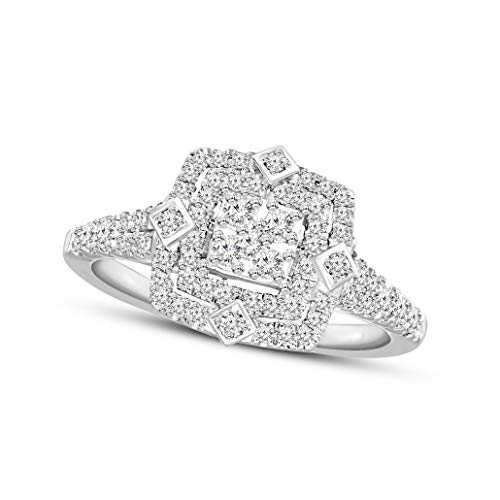 Lab Created Diamond Ring 10KT Round Cut SI-GH Quality Square diamond ring Diamond Engagement Ring for women 1/2 Carat Diamond Ring For Women(Diamond Jewelry for Women) (Jewelry Gifts For Women)