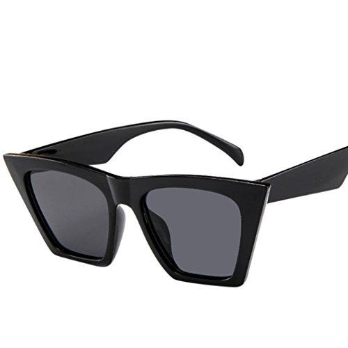 soleil plein soleil de Protected soleil UV Moonuy de rétro Noir Lunettes Lunettes luxe surdimensionnées Filles de rétro air de de imperméables de lunettes Grandes yeux soleil Lunettes chat de carrées 400 xxzHO6n4