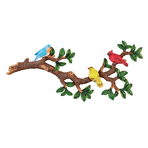 Colorful Birds on a Branch with Leaves 3D Wall Decor - Features Cardinal, Yellow Finch, and Bluebird