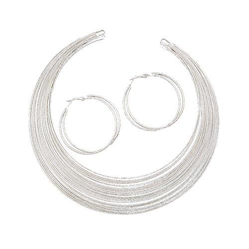 Metallic Multi Strand Collar Choker Necklace Hoop Earrings Jewelry Set (Silver)