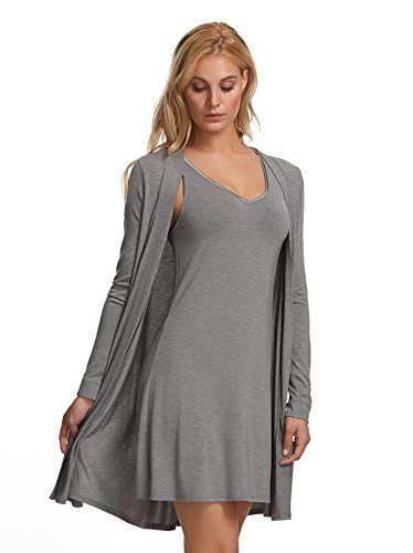 (Felina | Modal Tank Chemise & Wrap | 2-Piece | Loose Fit | Loungewear (Heather Gray, X-Large))