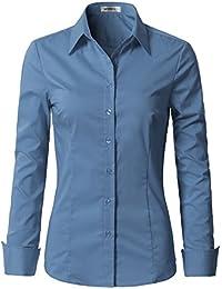 Womens Basic Long Sleeve Button Down Slim Fit Blouse Shirt