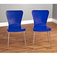 Pisa Bentwood Chair, Set of 2 Stackable Chrome Plating Metal Tubes Legs, Blue