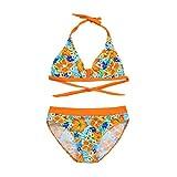 Girls Floral Print Swimwear Infant Kids Two Piece Swimsuit Bikini Set Outfits (9-10 Years, Pink)