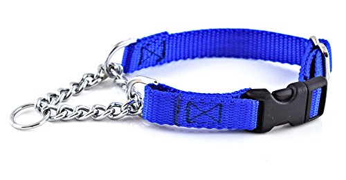 Nylon Martingale Adjustable Chain Collar with Quick-Snap Release Small 5/8