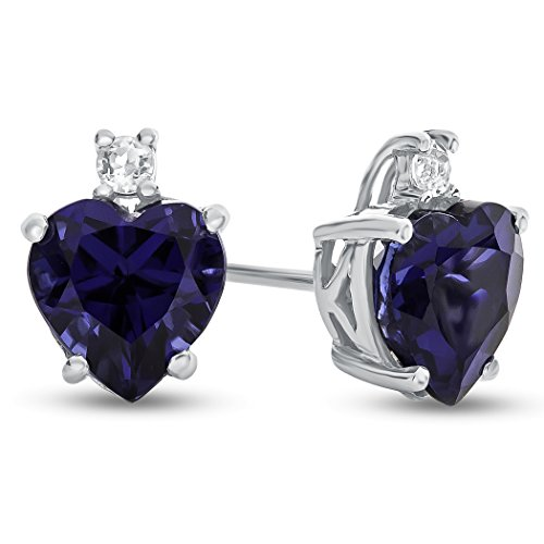 Finejewelers 10k White Gold 7mm Heart Shaped Created Sapphire with White Topaz Earrings