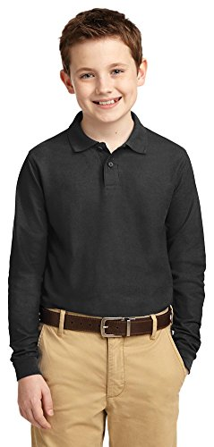 Port Authority Youth Long Sleeve Silk Touch Polo Shirt  L  Black
